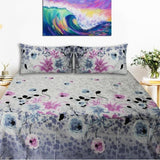 Export Quality Bed Sheet - White Floral - waseeh.com