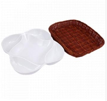 Snack Plate with Basket - Flower - waseeh.com
