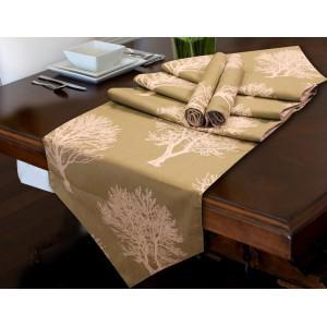 TABLE RUNNER with mat 7 PC Set - Tree Pattern - waseeh.com