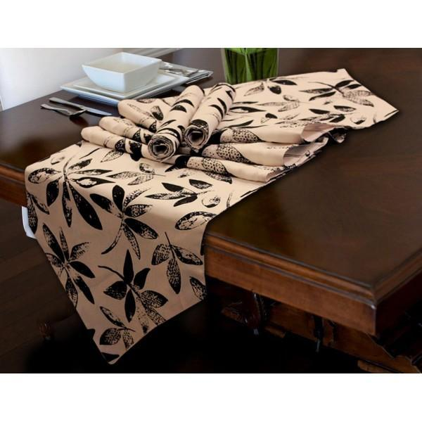 TABLE RUNNER 7 PCs SET - black leaves - waseeh.com