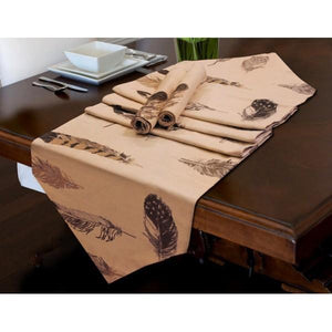 TABLE RUNNER 7 PCs SET - Brown Leaves - waseeh.com