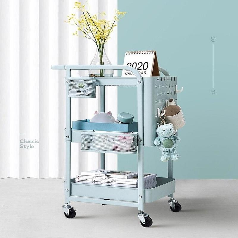 Rolling Utility Cart with Handle & Removable Pegboard (3-Tier) - waseeh.com