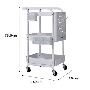 Rolling Utility Cart with Handle & Removable Pegboard (3-Tier)