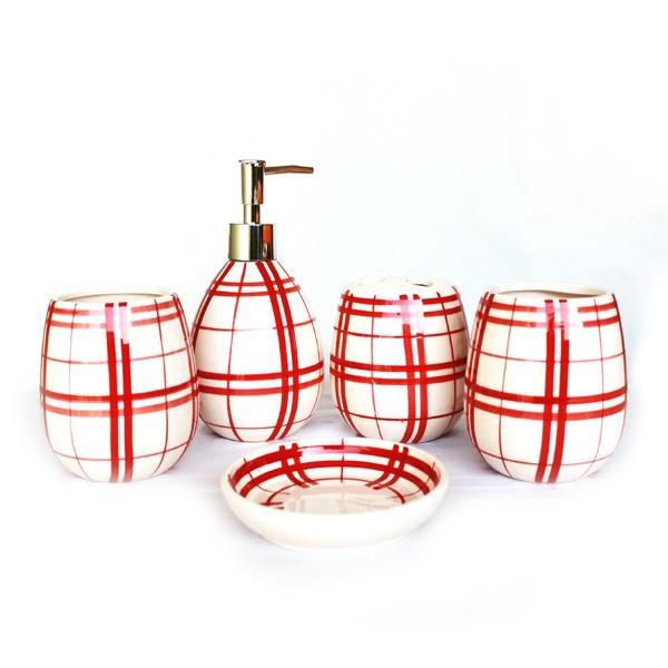 Ceramic Bathroom Set - 5 pc boxes pattern - waseeh.com