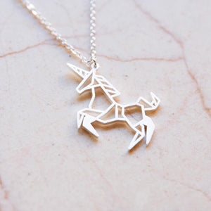 Unicorn Silver Origami Geometric Necklace