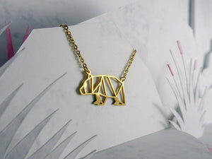 Bear Gold Origami Geometric Necklace