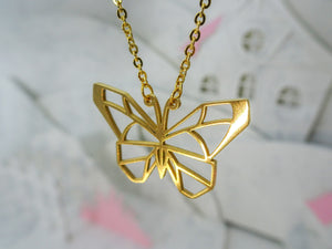 Butterfly Gold Origami Animal Necklace