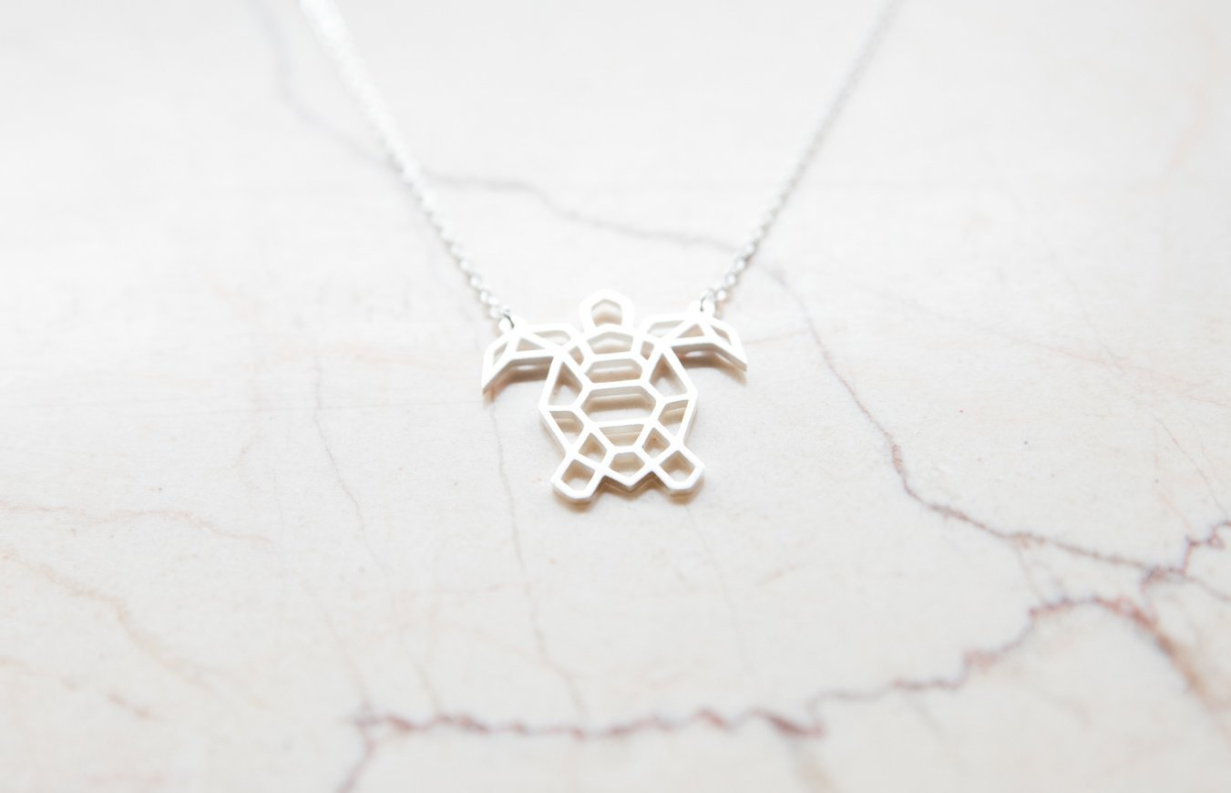 Turtle Silver Origami Geometric Necklace