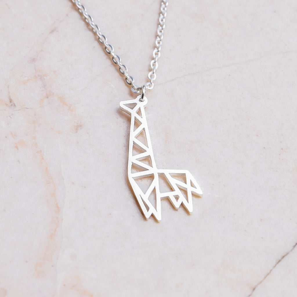 Giraffe Silver Origami Geometric Necklace