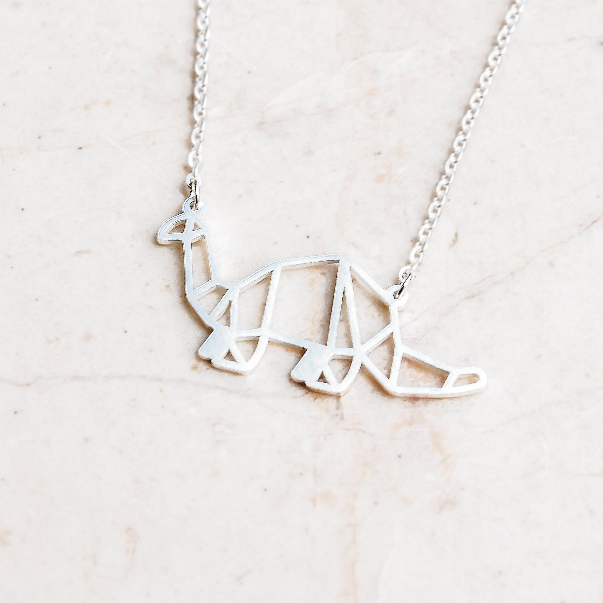 Dinosaur Silver Origami Geometric Necklace