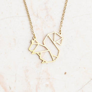 Squirrel Gold Origami Geometric Necklace