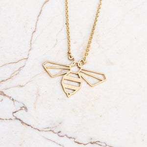 Bee Gold Origami Geometric Necklace