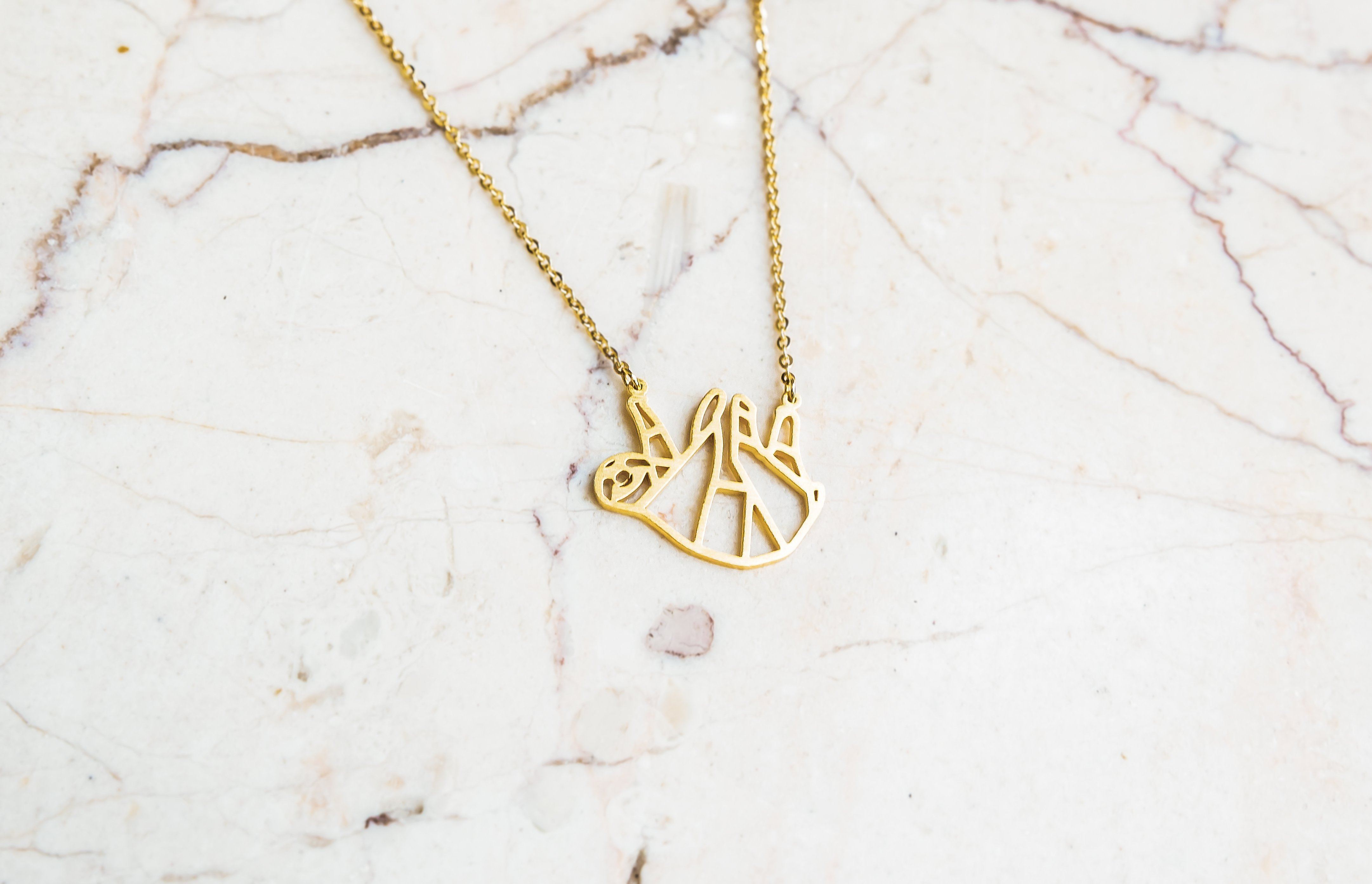Sloth Gold Origami Geometric Necklace