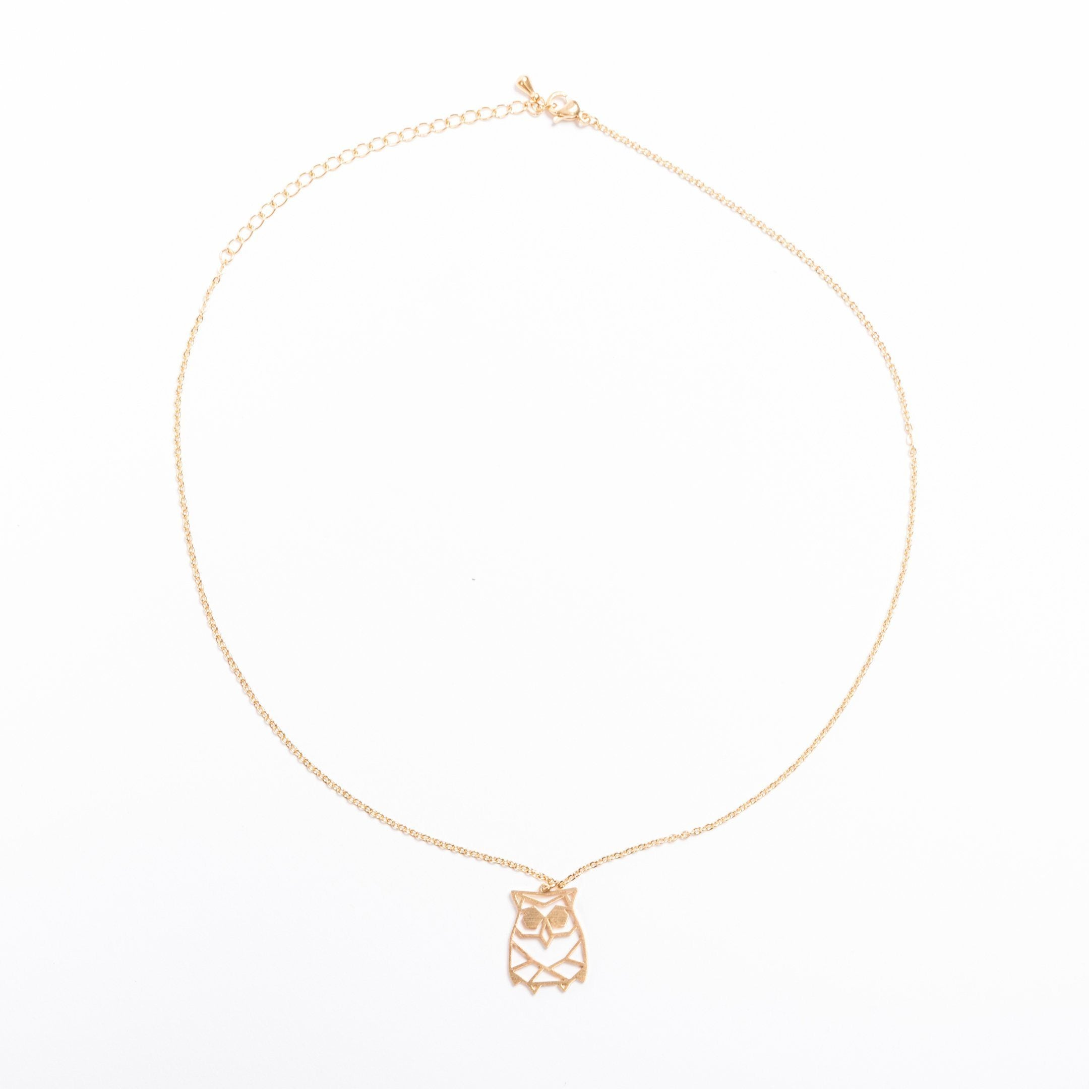 Owl Gold Origami Necklace