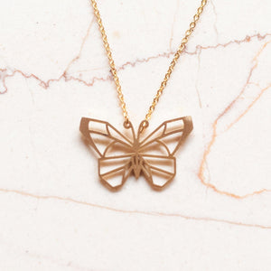 Butterfly Gold Origami Geometric Necklace