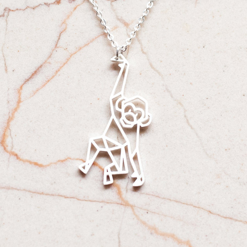 Monkey Silver Origami Geometric Necklace