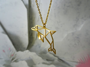 Dolphin Gold Origami Animal Necklace