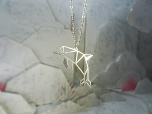 Dolphin Silver Origami Animal Necklace