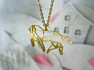 Horse Gold Origami Animal Necklace