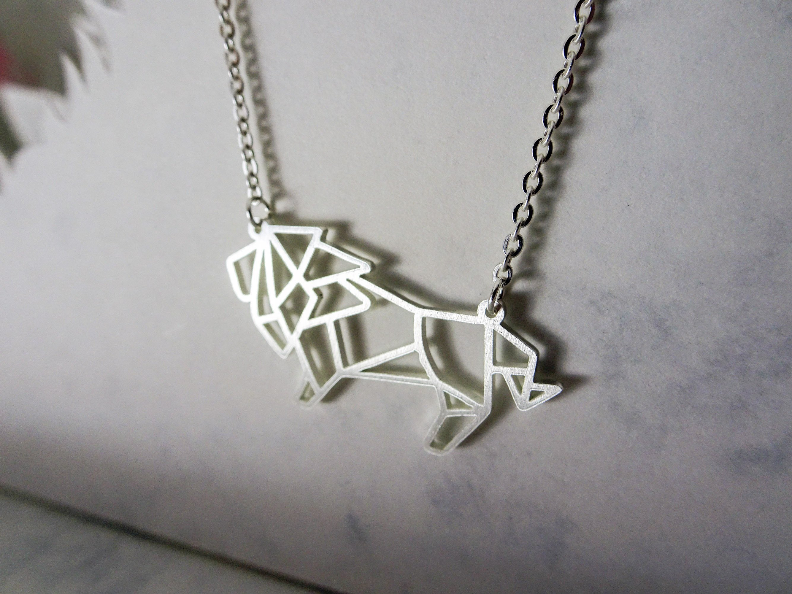 Lion Silver Origami Geometric Necklace