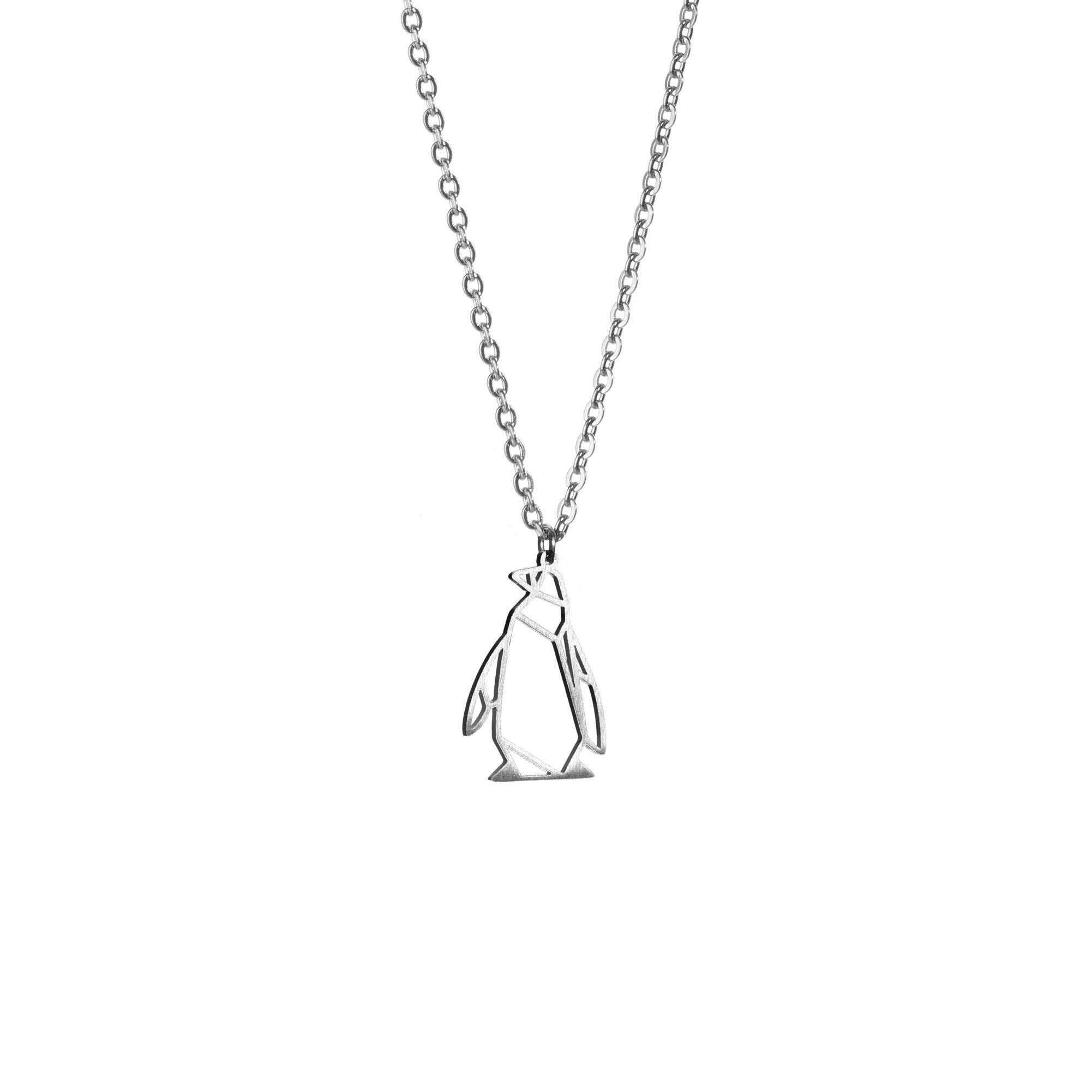 Penguin Silver Origami Geometric Necklace