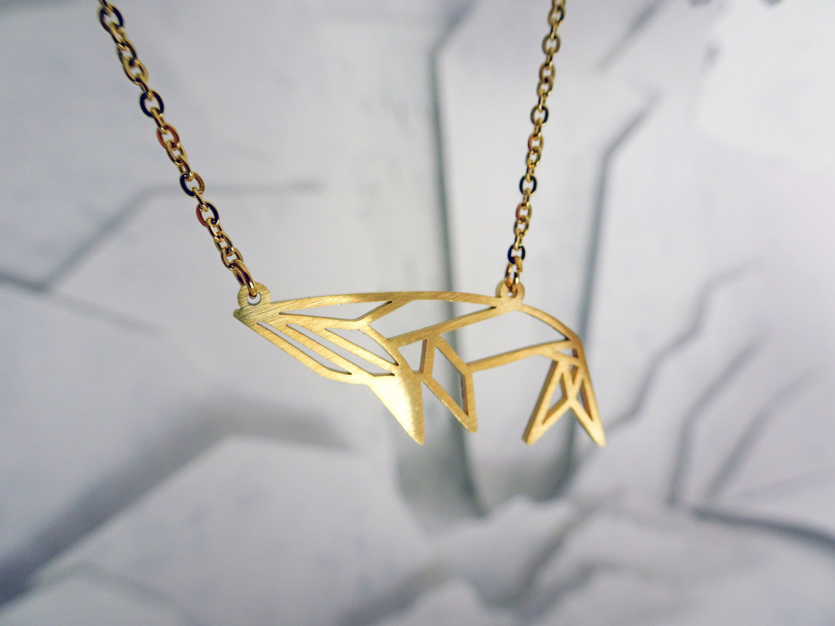 Whale Gold Origami Geometric Necklace