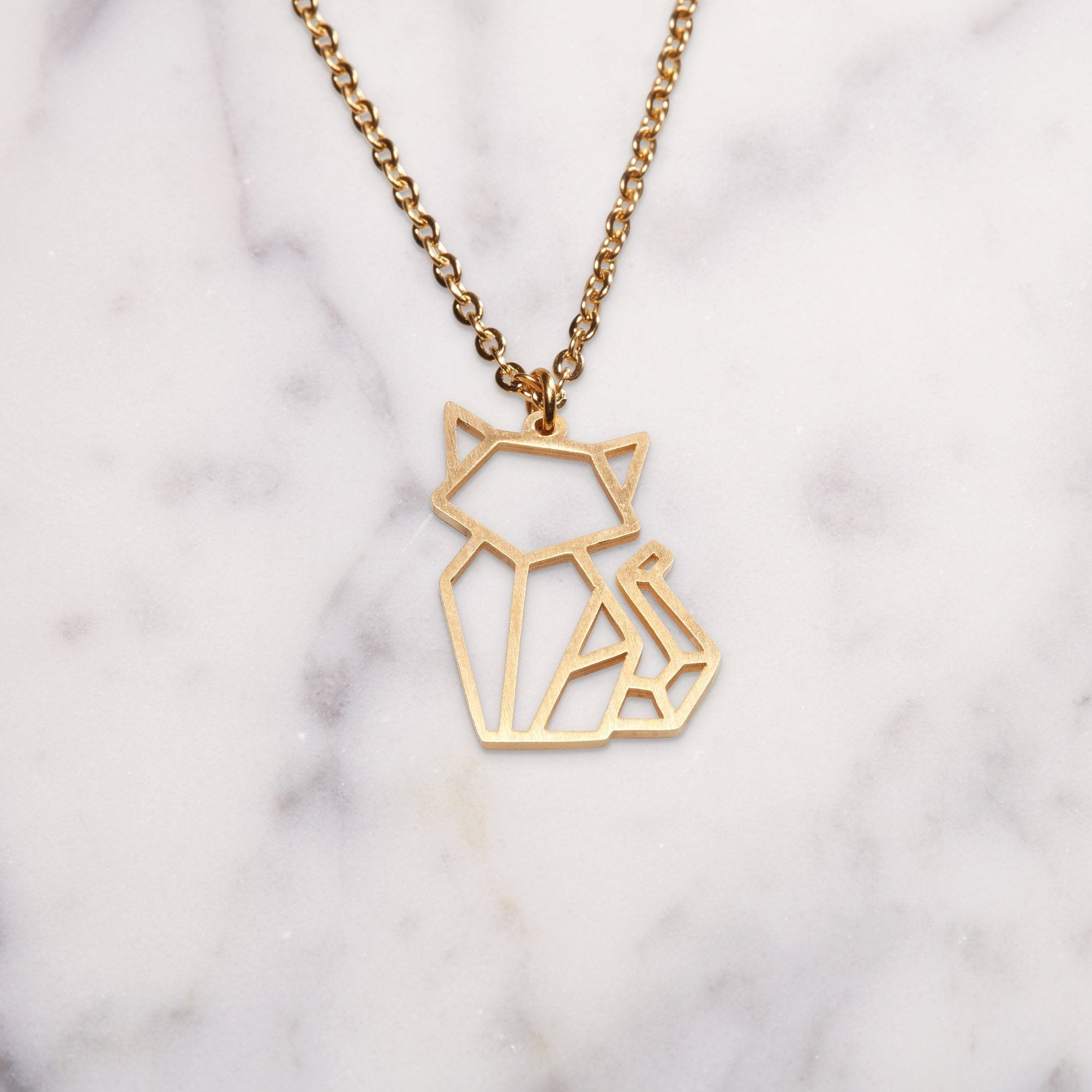 Cat Gold Origami Necklace