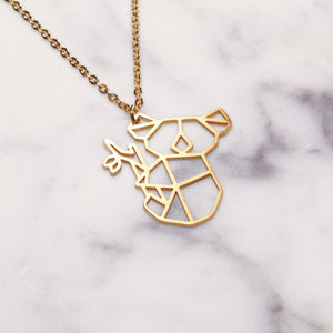 Koala Gold Origami Geometric Necklace