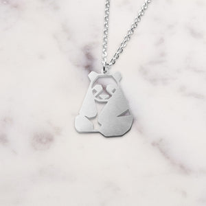 Panda Silver Origami Geometric Necklace