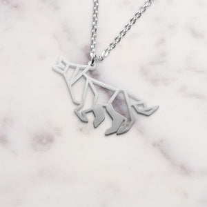 Wolf Silver Origami Geometric Necklace