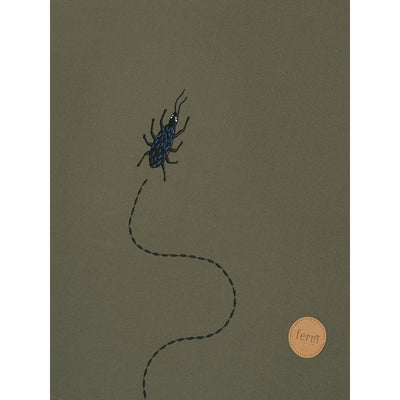 ferm Living telt, Beetle Embroidery - Dark olive