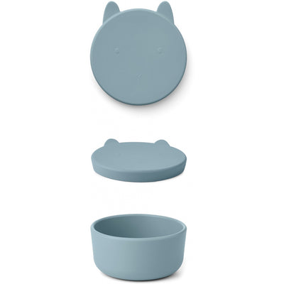Liewood Charlot silikone snackbox, medium - Rabbit sea blue