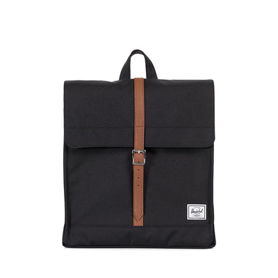 Herschel rygsæk, City Mid-Volume - Black/Tan synthetic leater