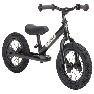 Trybike løbecykel, black m. retro look - Black edition