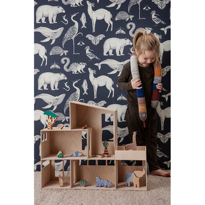 ferm Living tapet, Animals - dark blue