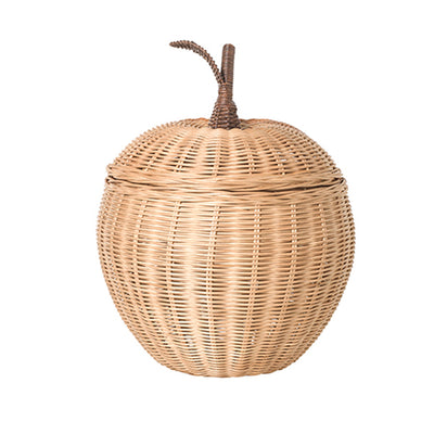 ferm Living Apple Storage, flet kurv i rattan