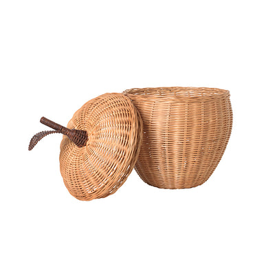 ferm Living Apple Storage, flet kurv i rattan - Small
