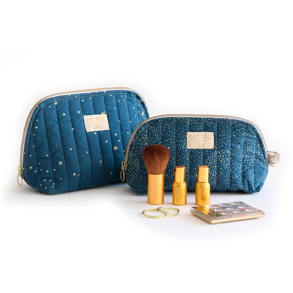 Nobodinoz toilettaske, small og large, gold bubble - night blue med make up