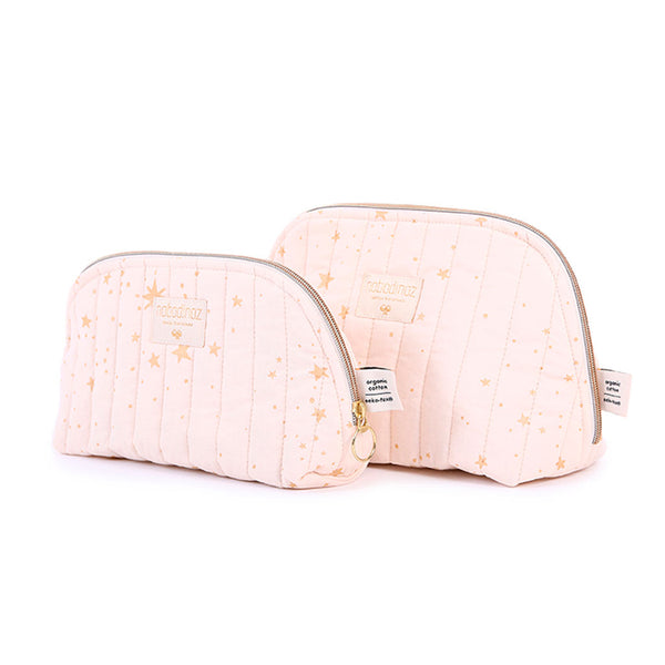 Nobodinoz toilettaske, small og large, gold Stella - dream pink