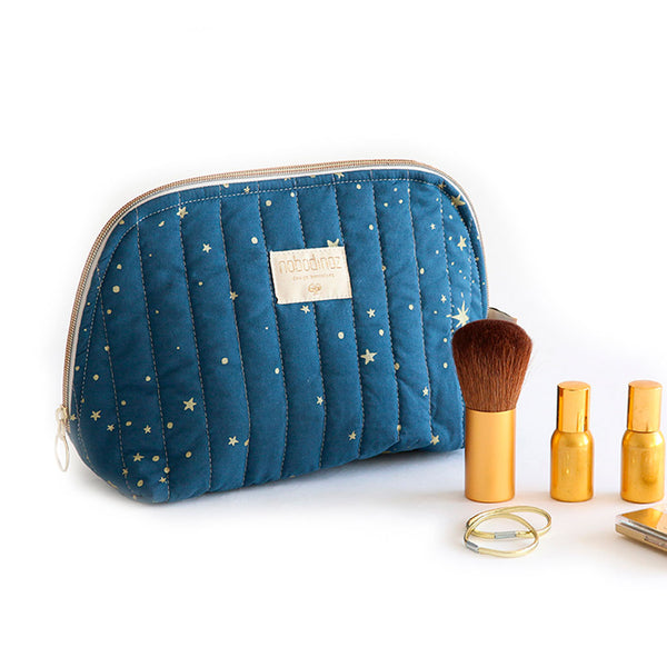 Nobodinoz toilettaske, small, gold Stella - night blue med makeup