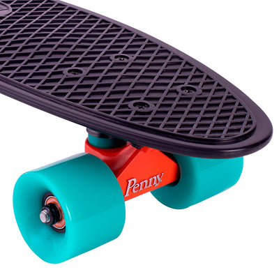 "Penny board 22"", skateboard til børn - Bright light black/turquoise"