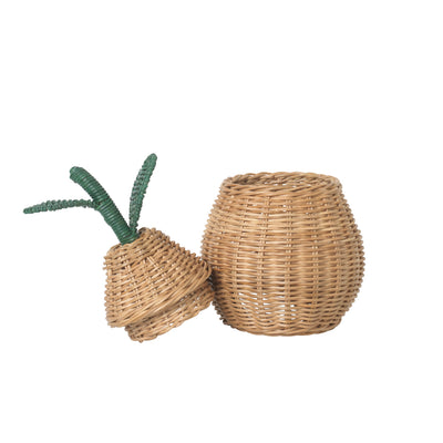 ferm Living Pear Storage, flet kurv i rattan - Small