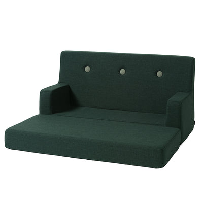 By KlipKlap Kids Sofa, Deep green w light green buttons