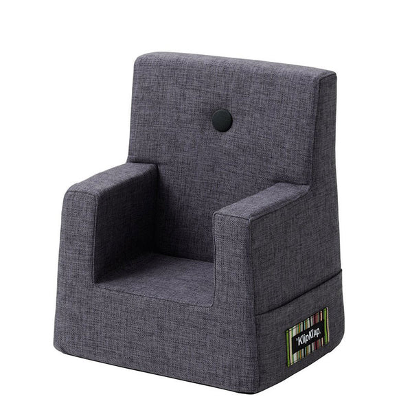By KlipKlap Kids Chair, blue grey w. grey button