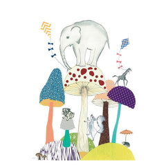 Tex og Jack illustration, World of mushrooms - 50 x 70 cm