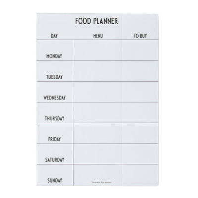 Design Letters, weekly food planner
