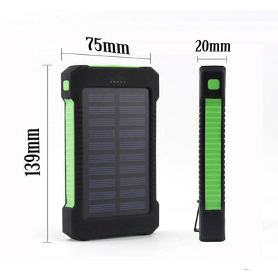 Solar Panel Charger 10000mAh Dual USB with LED Light & Compass
