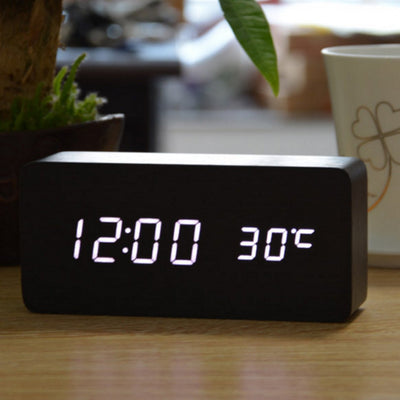 Modern LED Wooden Alarm Clock with Thermometer & Voice Control