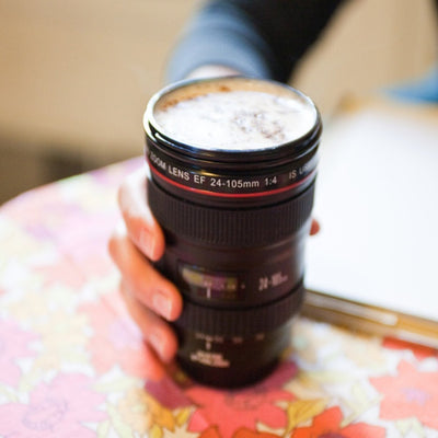 Camera Lens-Like Stainless Steel Coffee & Tea Mug
