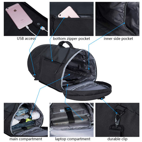 Backpack With Shoe Storage.Versatile Multi Function Portable Travel Waterproof Daypack With Usb Access